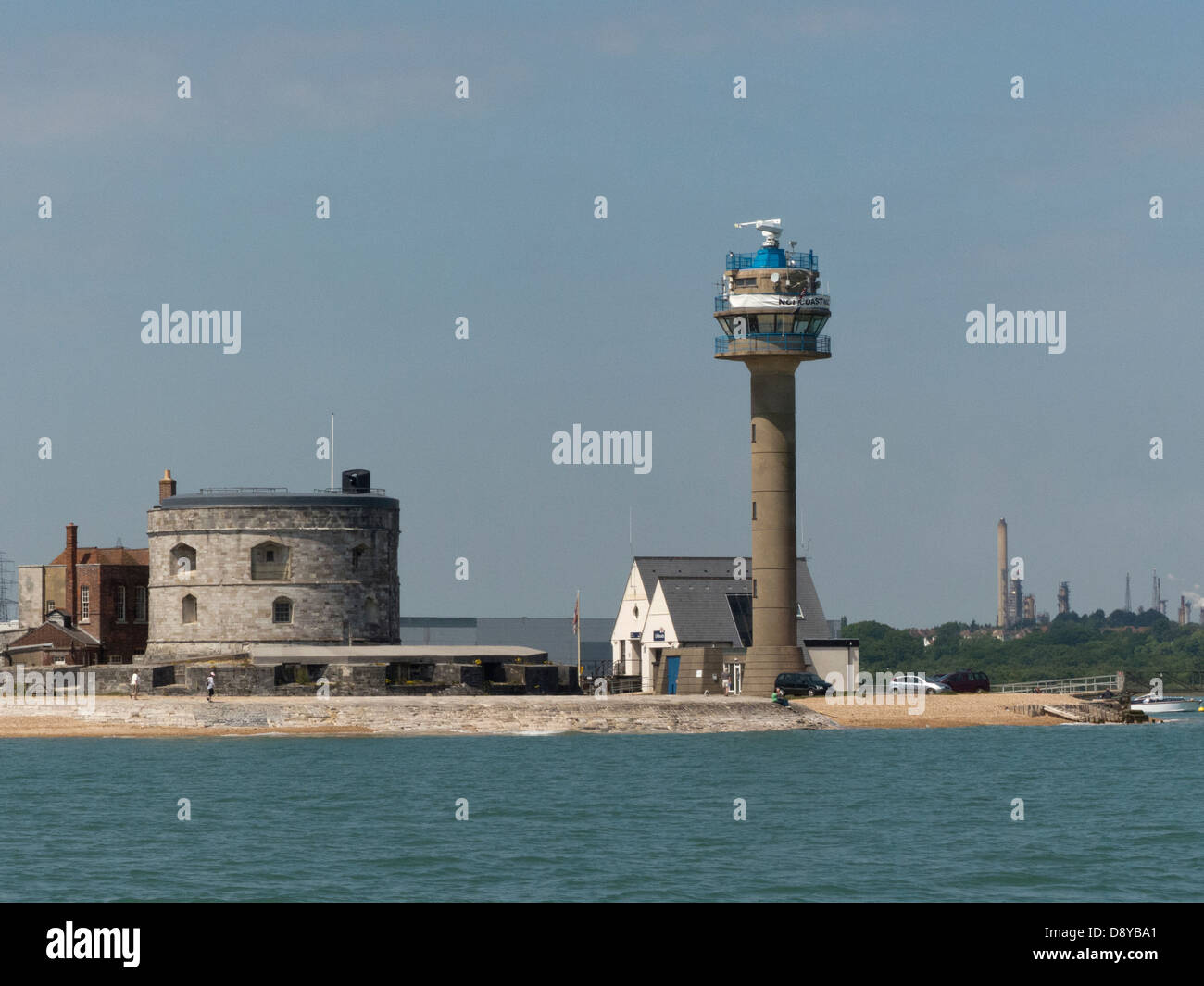 Calshot Castle radar tower old new lookouts - Stock Image