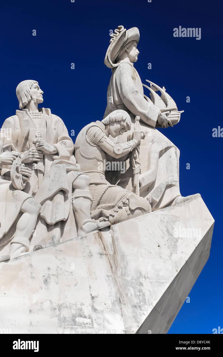 Portugal, Estremadura, Lisbon, Padrao dos Descobrimentos Carving of Prince Henry the Navigator leading the Discoveries - Stock Image