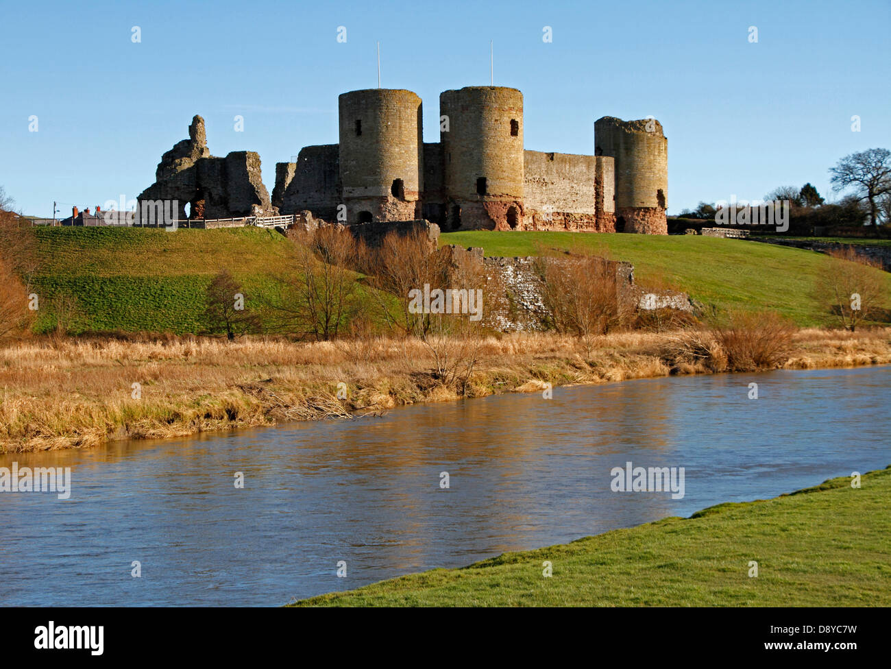 Wales Denbighshire Rhuddlan Castle overlooking the river Clwyd built in 1277 by King Edward 1 following the first - Stock Image