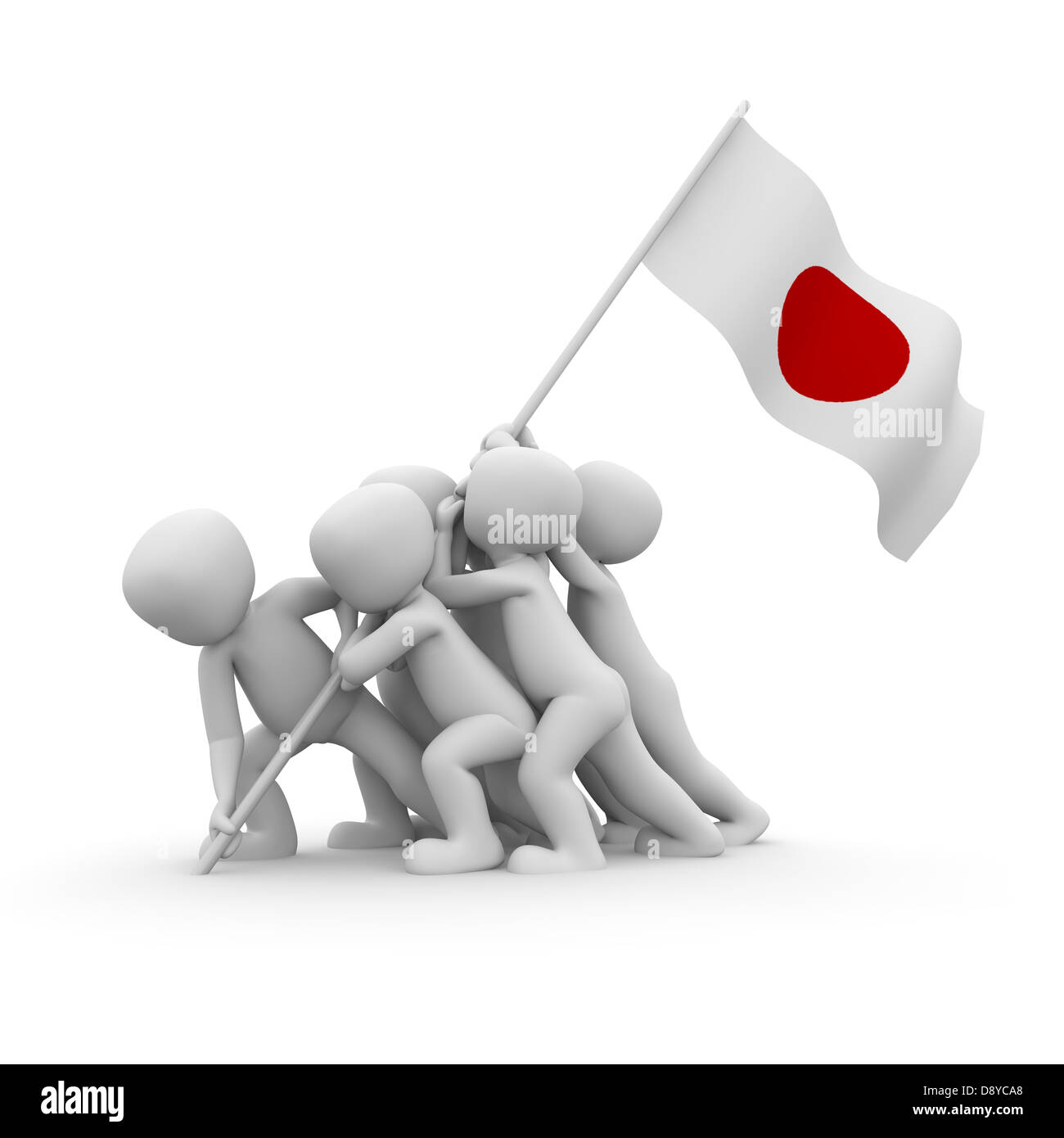 The characters want to hoist the Japanese flag together. - Stock Image