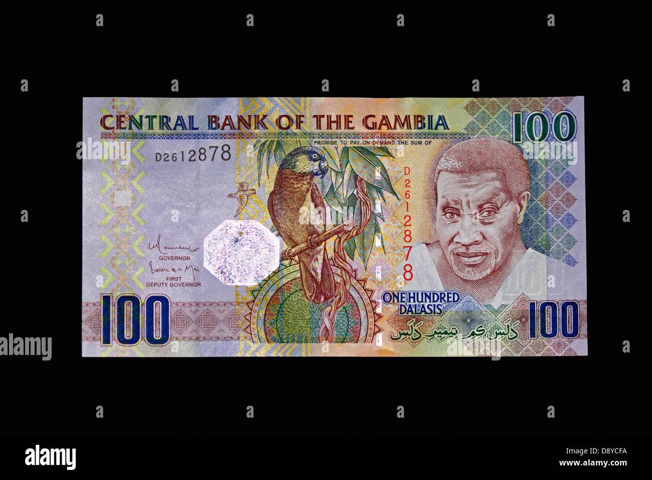 Gambian currency 100 Dalasis bank note
