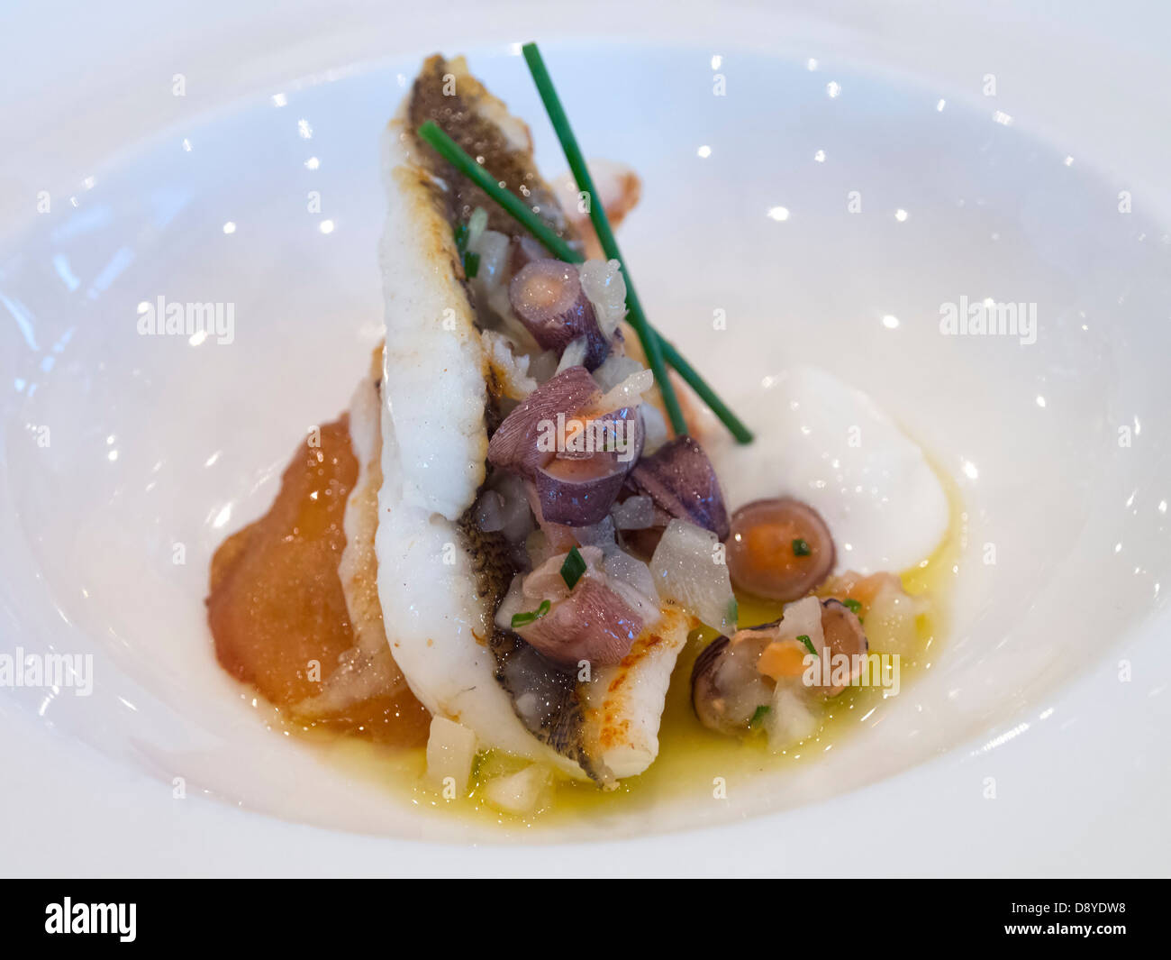 Nouvelle cuisine gourmet seafood dish stock photo for Nouvelle cuisine