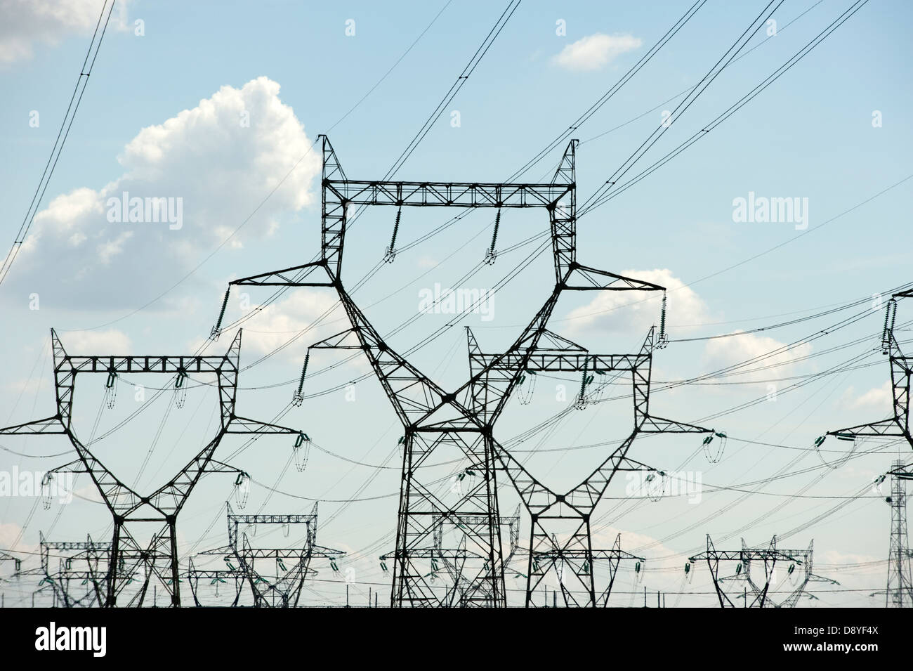 Electricity Cables Power Grid Sky Need - Stock Image