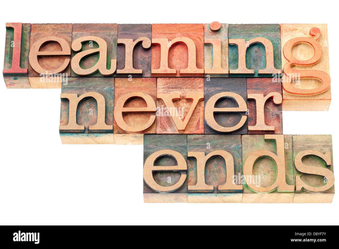 learning never ends - continuous education concept - isolated text in letterpress wood type - Stock Image
