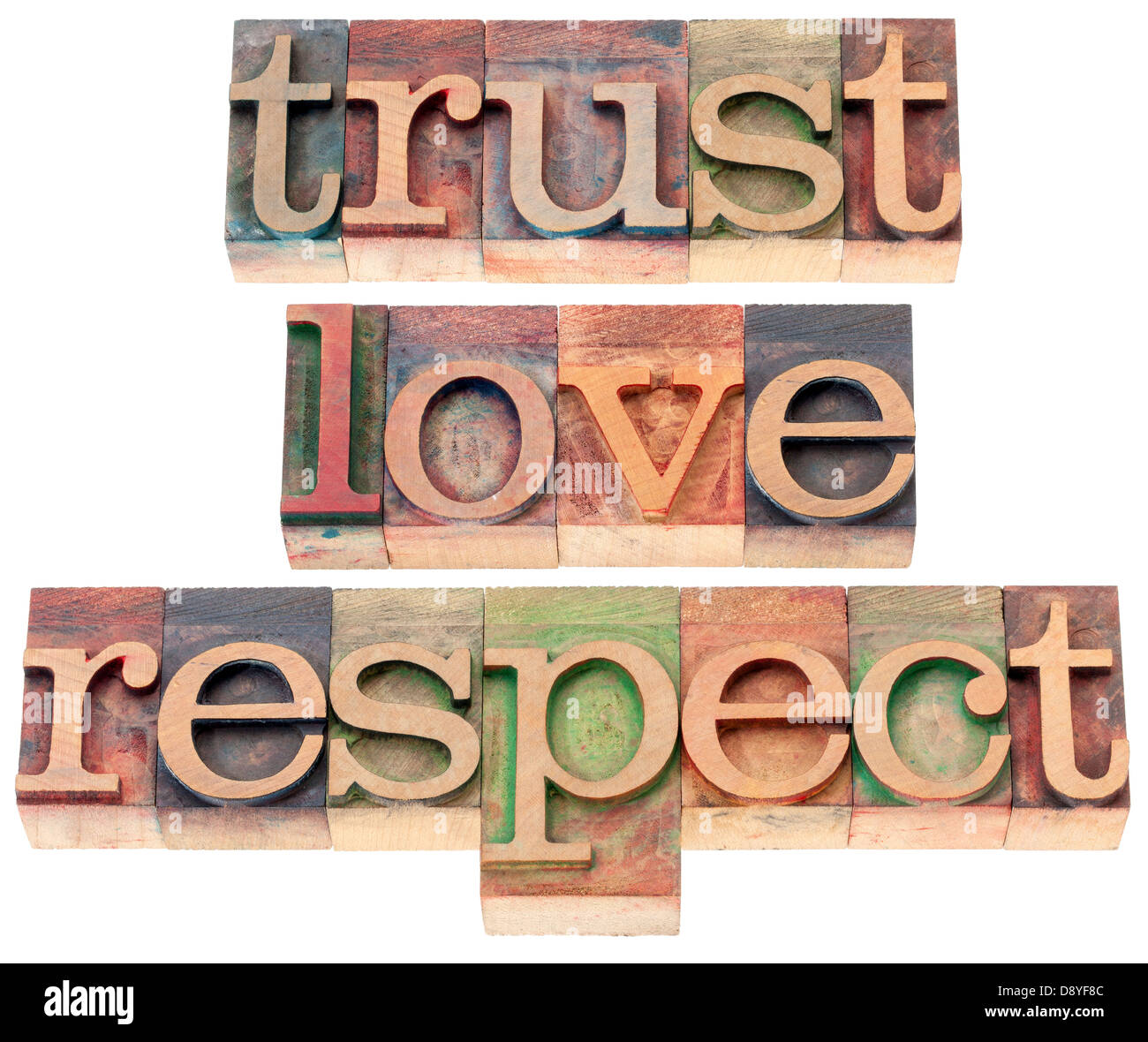 trust, love, respect words - relationship concept - isolated