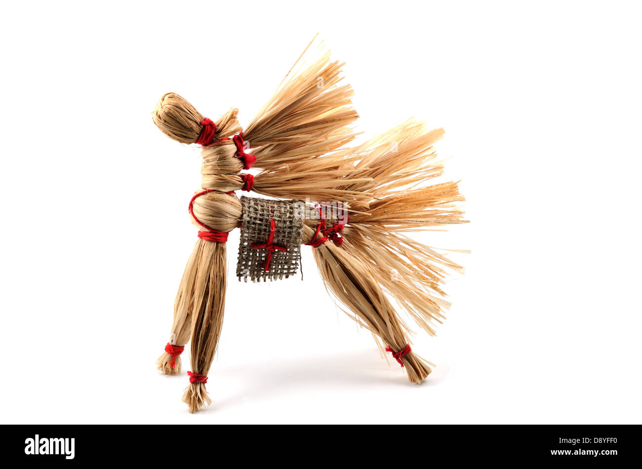 traditional Russian toy, horse of the bast over white - Stock Image