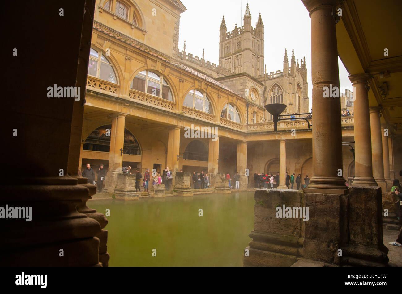 View of the Roman baths, Bath, Somerset, England - Stock Image