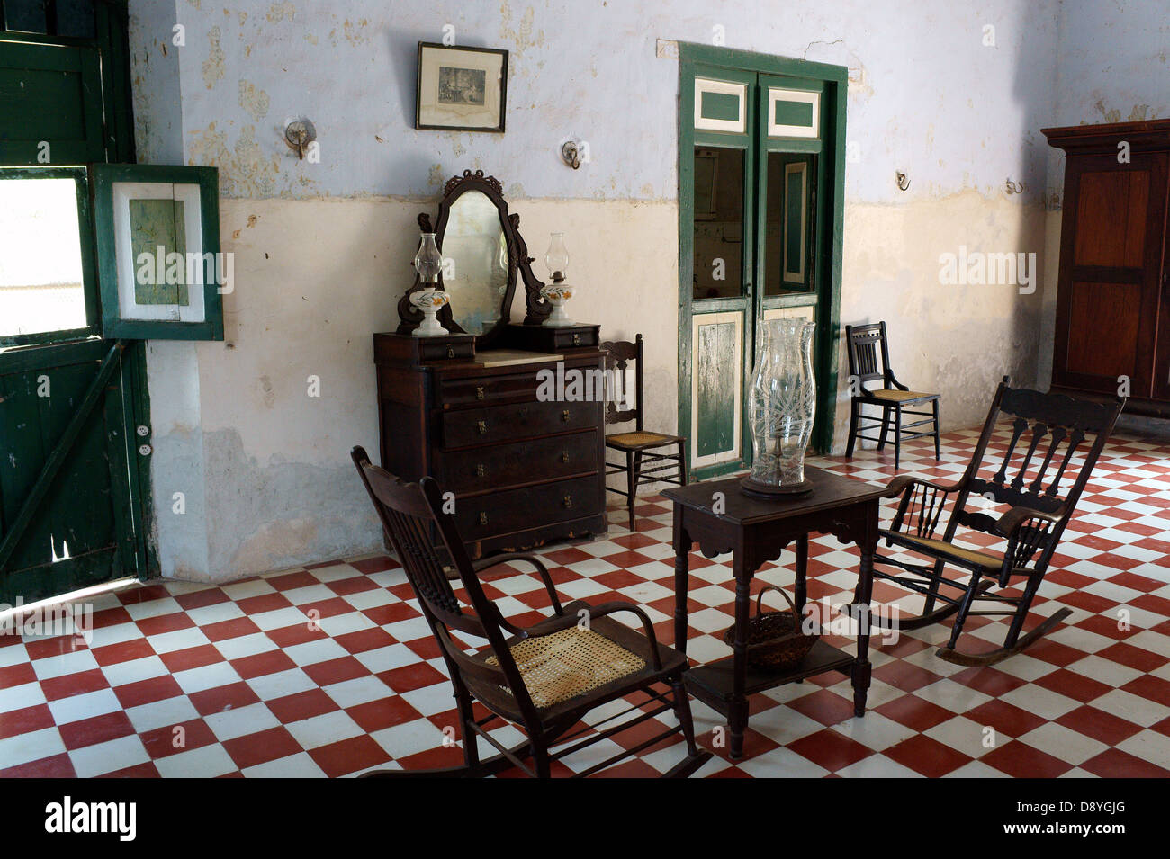 Room with colonial antique furniture in the main building at Hacienda Yaxcopoil, Yucatan, Mexico Stock Photo