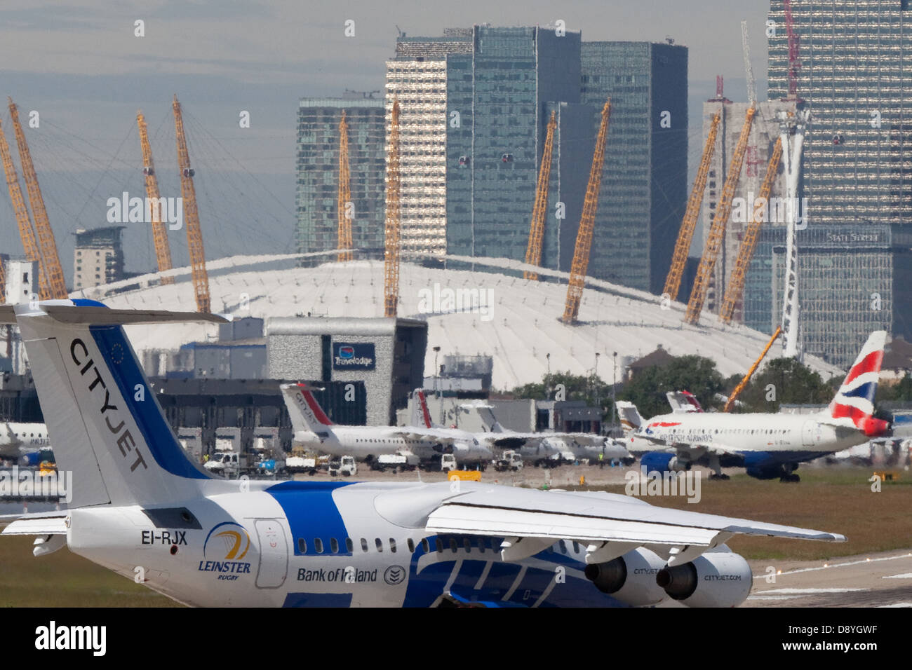 Jet ready for take-off at London City Airport - Stock Image