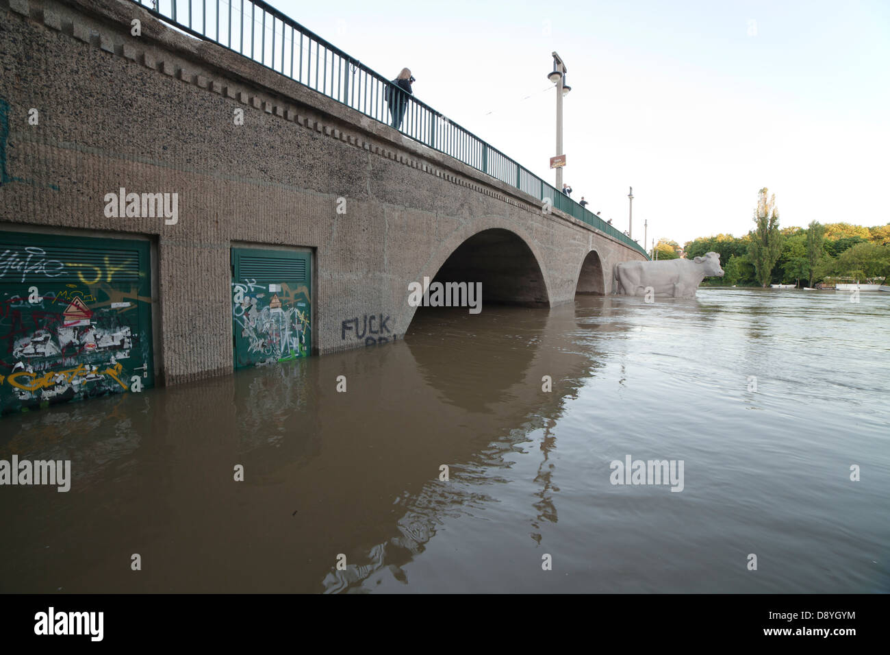 bridge Giebichenstein during flood of river Saale in Halle; Halle (Saale), Germany, 5th  June 2013 - Stock Image