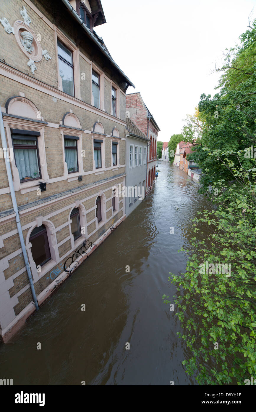 flood of river Saale in Halle, Talstrasse, Germany 05. June 2013 - Stock Image