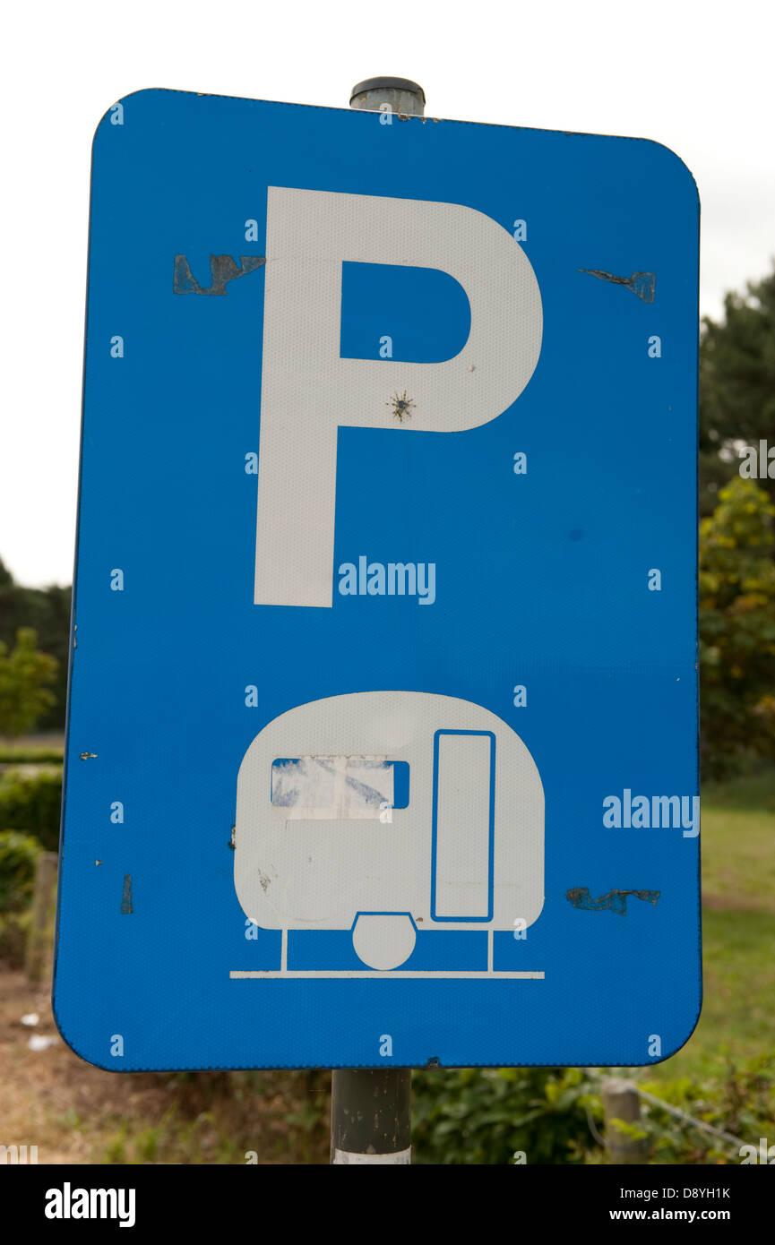 Caravan Parking Permitted Sign Blue Belgium Europe - Stock Image