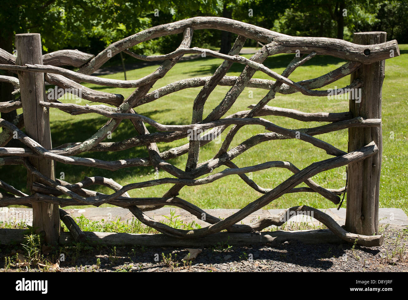 Woven Branches Make A Rustic Fence At The Home Of Frederic Church In Hudson New York
