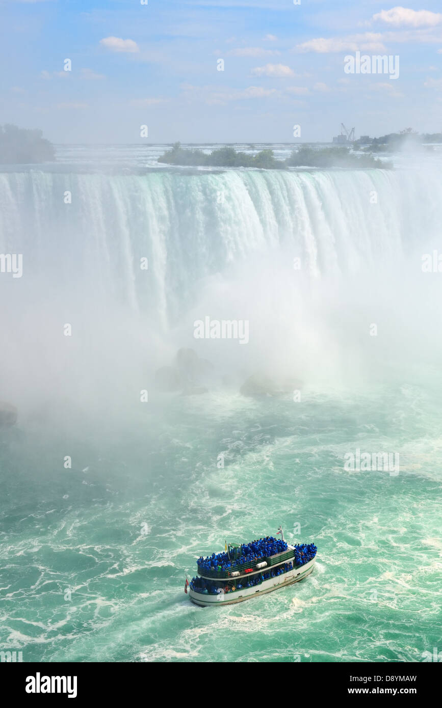 Boat and Horseshoe Falls from Niagara Falls - Stock Image