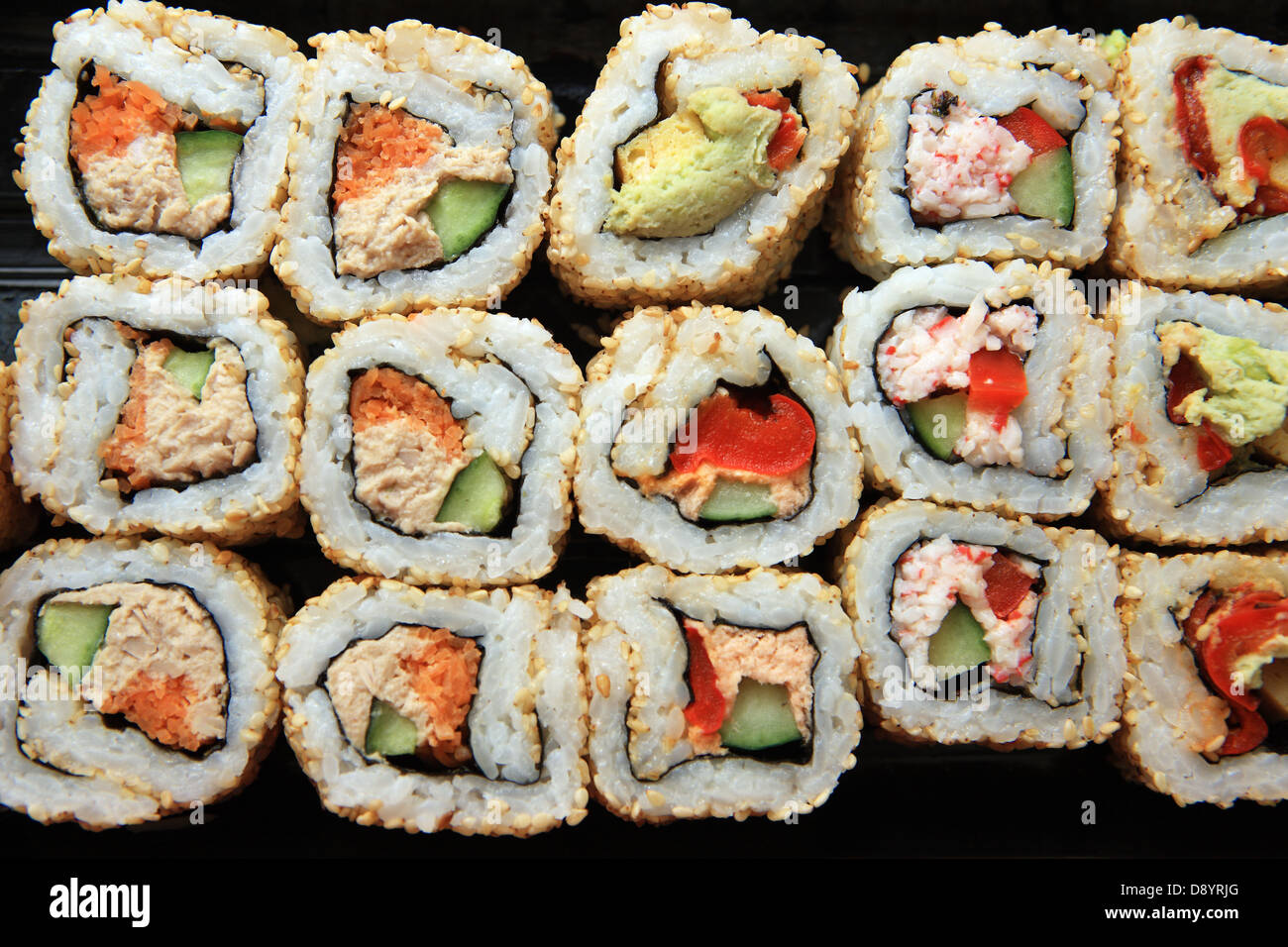 Sushi - various fillings - Stock Image