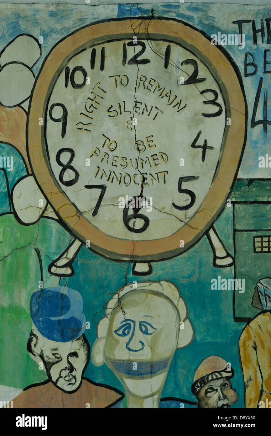 Drawing of clock face and gagged man Right to Remain Silent  graffiti against Apartheid Durban South Africa Historical - Stock Image