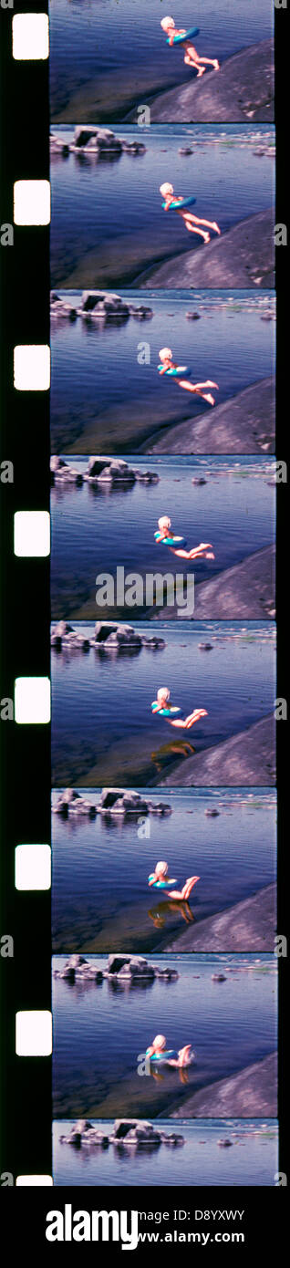 A frame frequency of a swimming boy, Sweden. - Stock Image