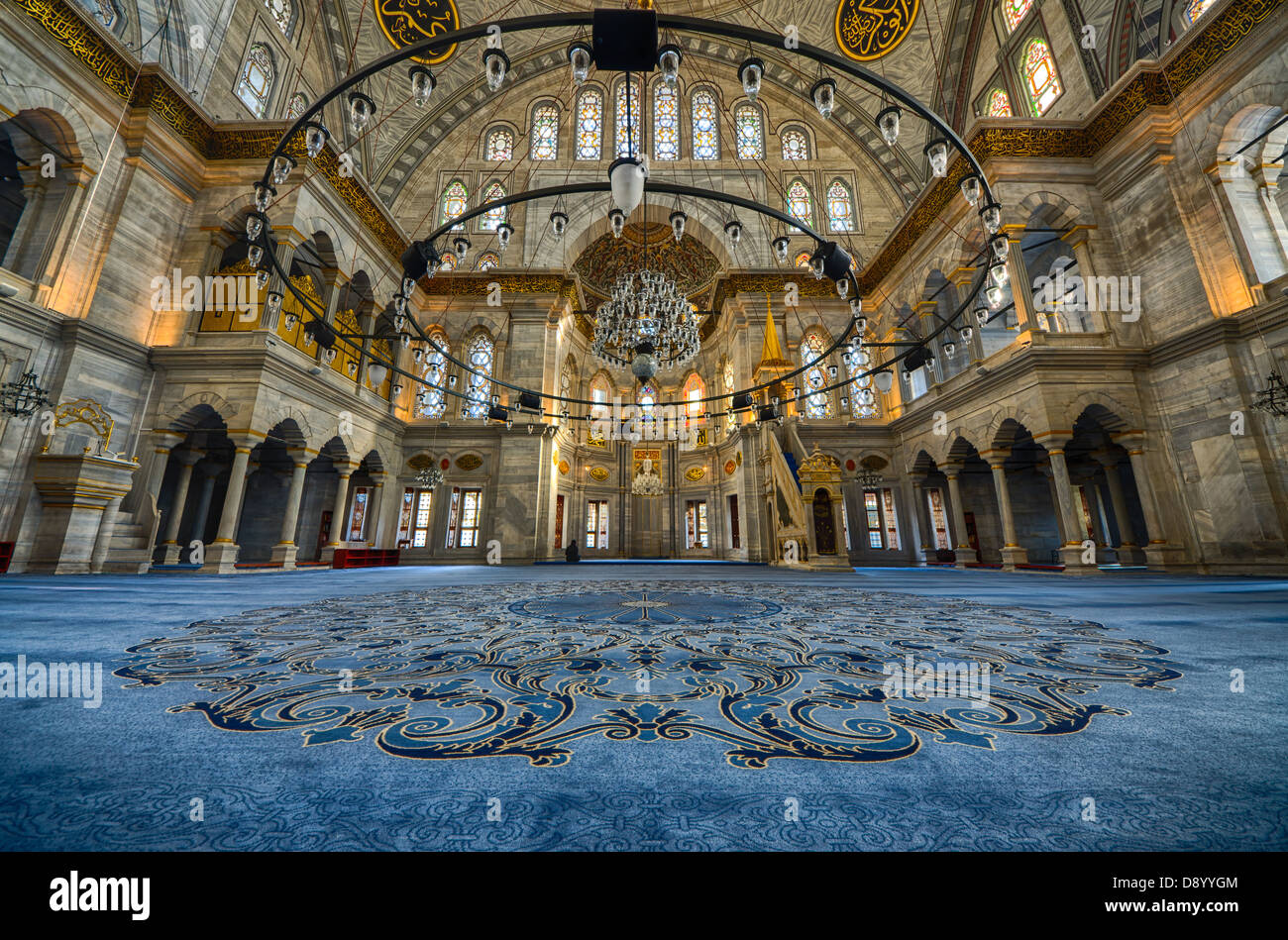 ISTANBUL - DECEMBER 2012: interiors of a Mosque on December 11, 2012. The Mosque is 500 years old - Stock Image