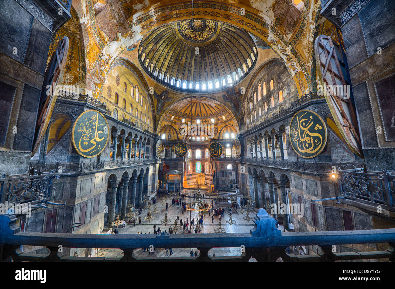 ISTANBUL - DECEMBER 2012: interiors of the Aya Sofia Mosque on December 07, 2012. The Aya Sofia Mosque is 1500 years Stock Photo