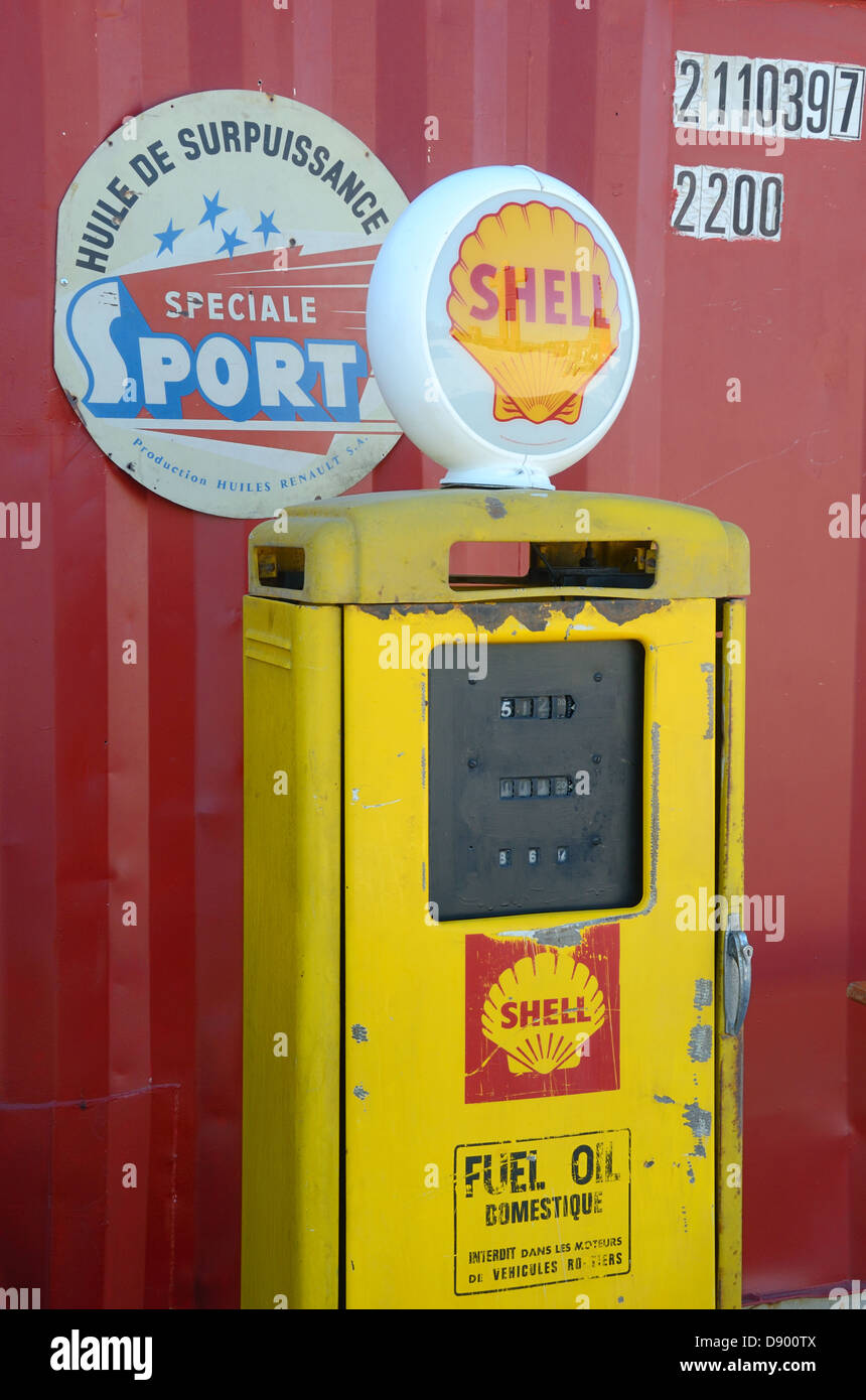 Vintage Shell Petrol Pump or Gas Pump France - Stock Image