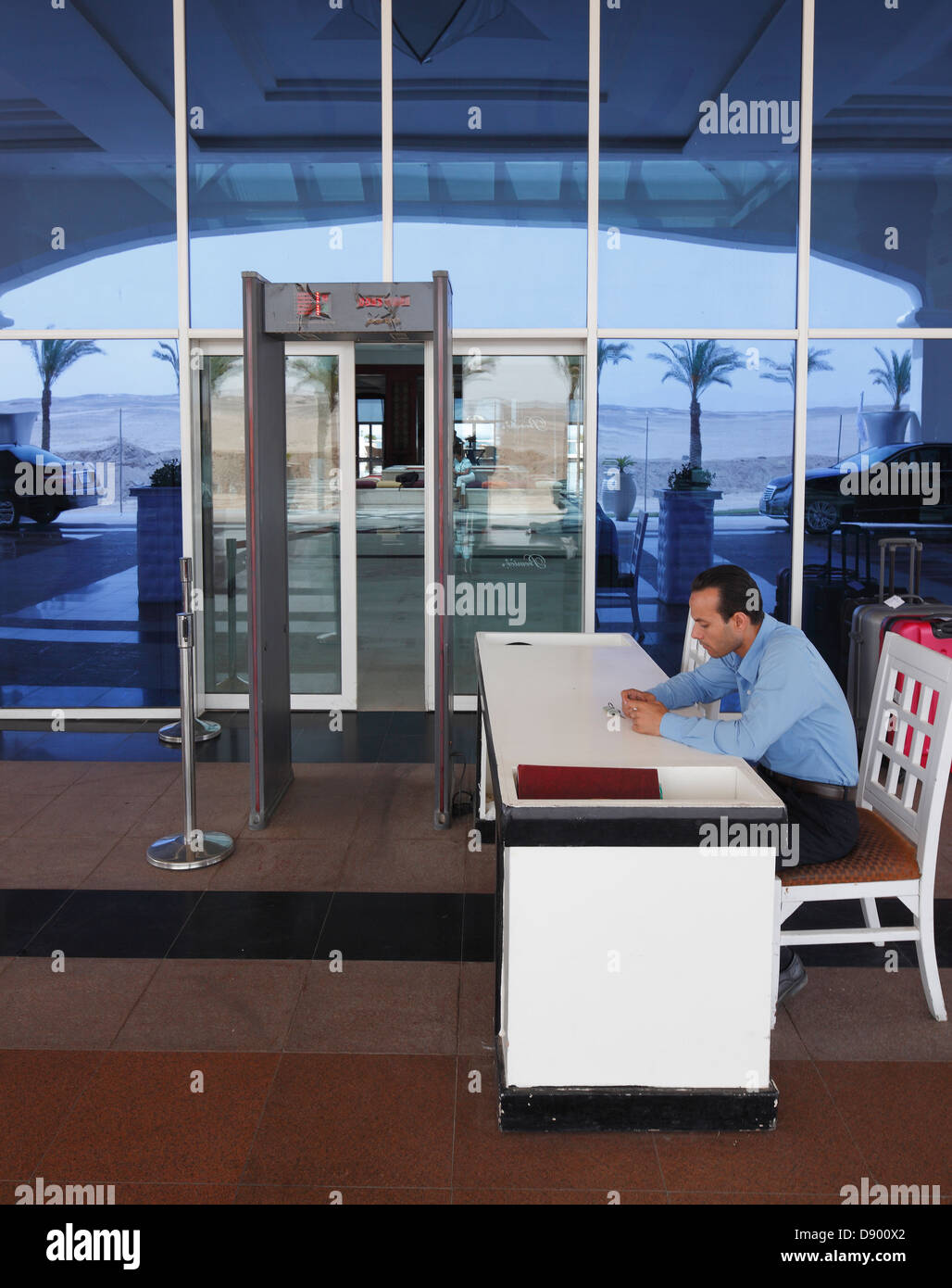 Jew Detector: Airport Type Metal Detector And Security Man At The