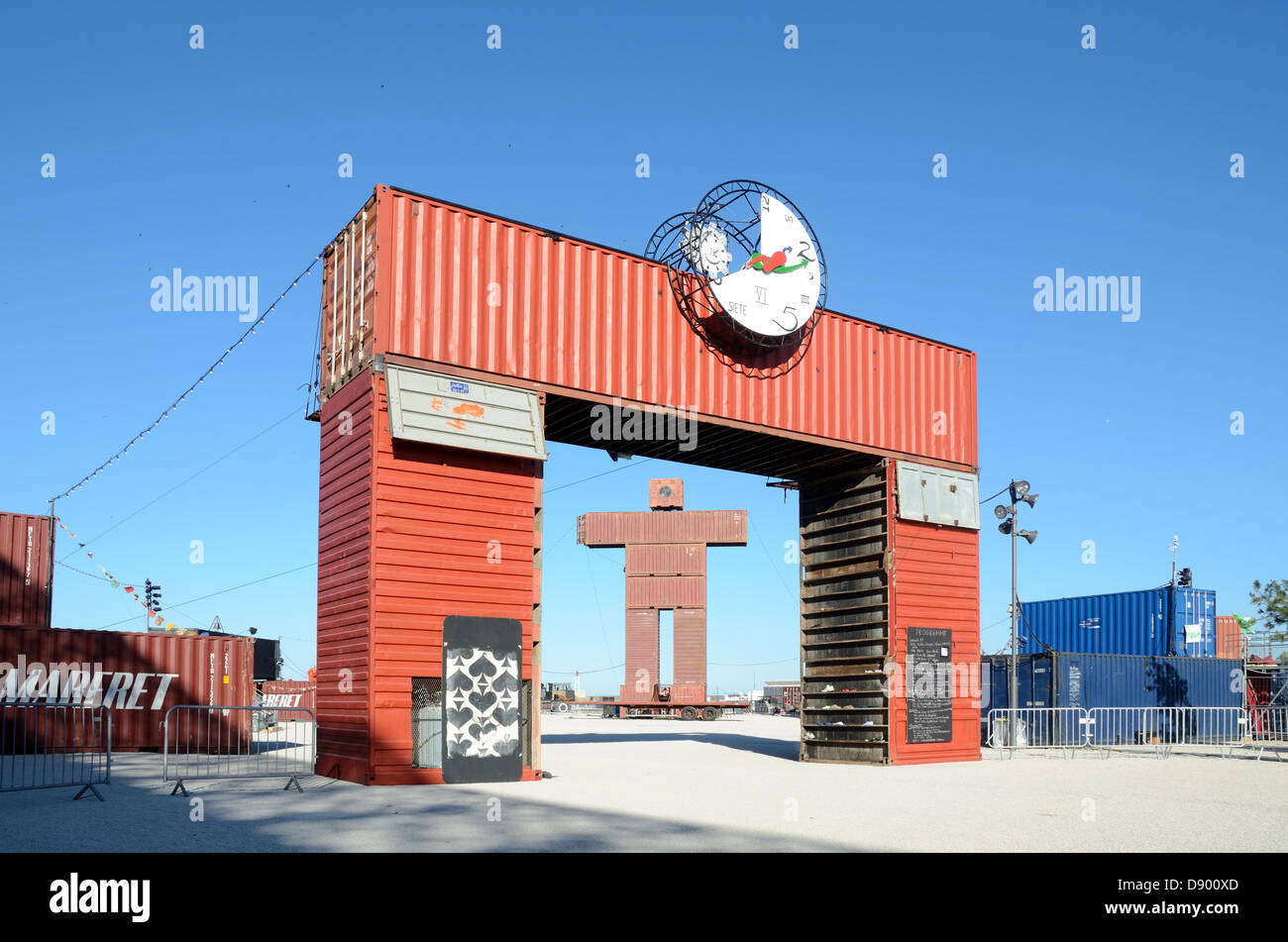 Shipping Containers Entrance Gateway Marseille France - Stock Image