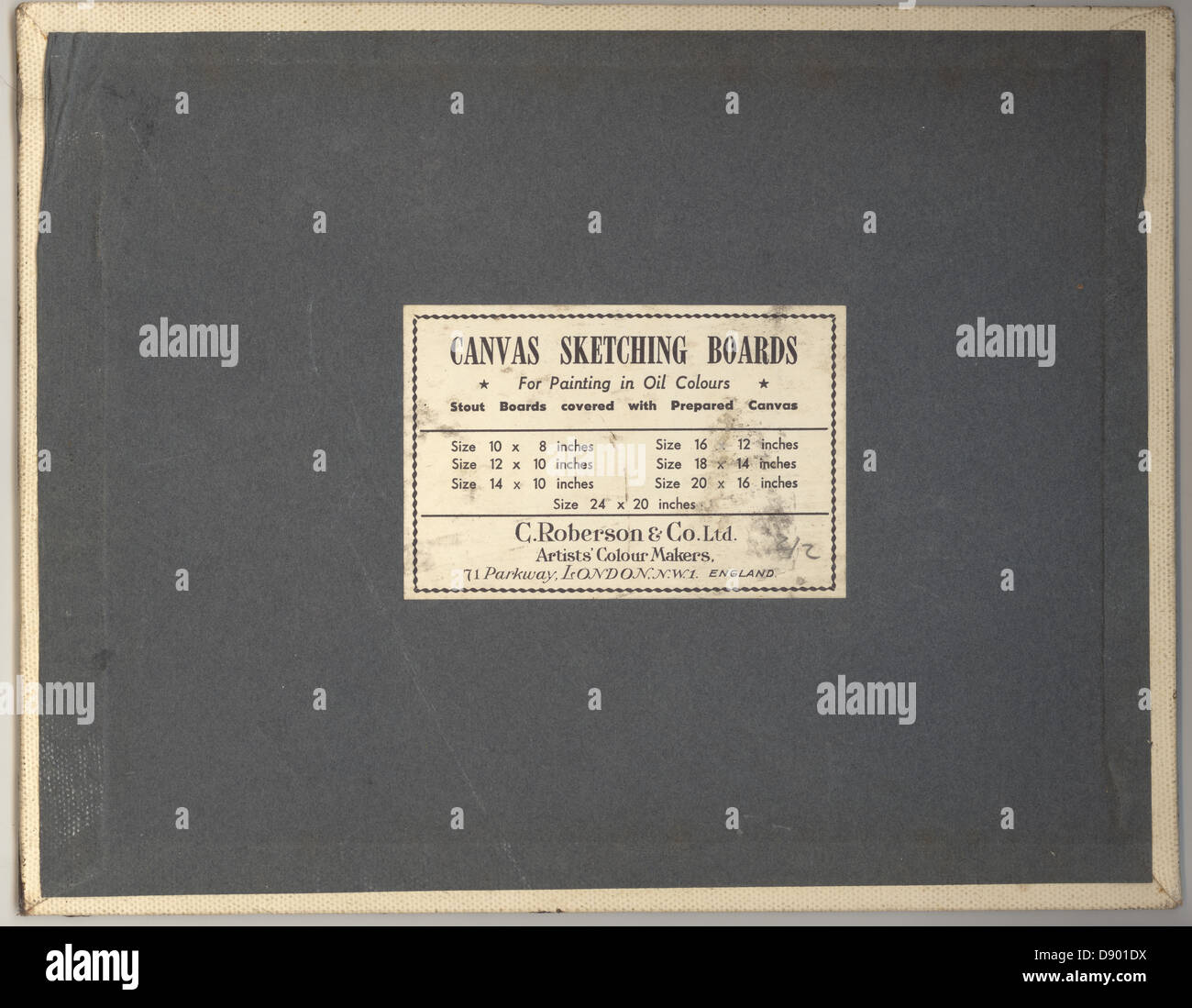 Reverse of early 1900's British-made canvas sketching board, U.K. - Stock Image