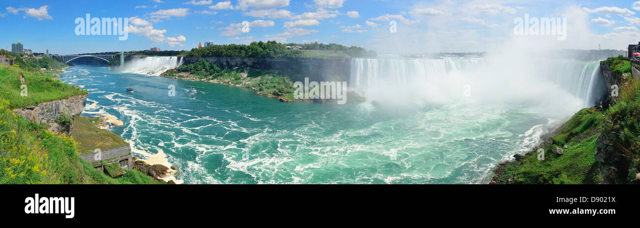 Niagara Falls aerial view panorama with blue sky and cloud - Stock Image