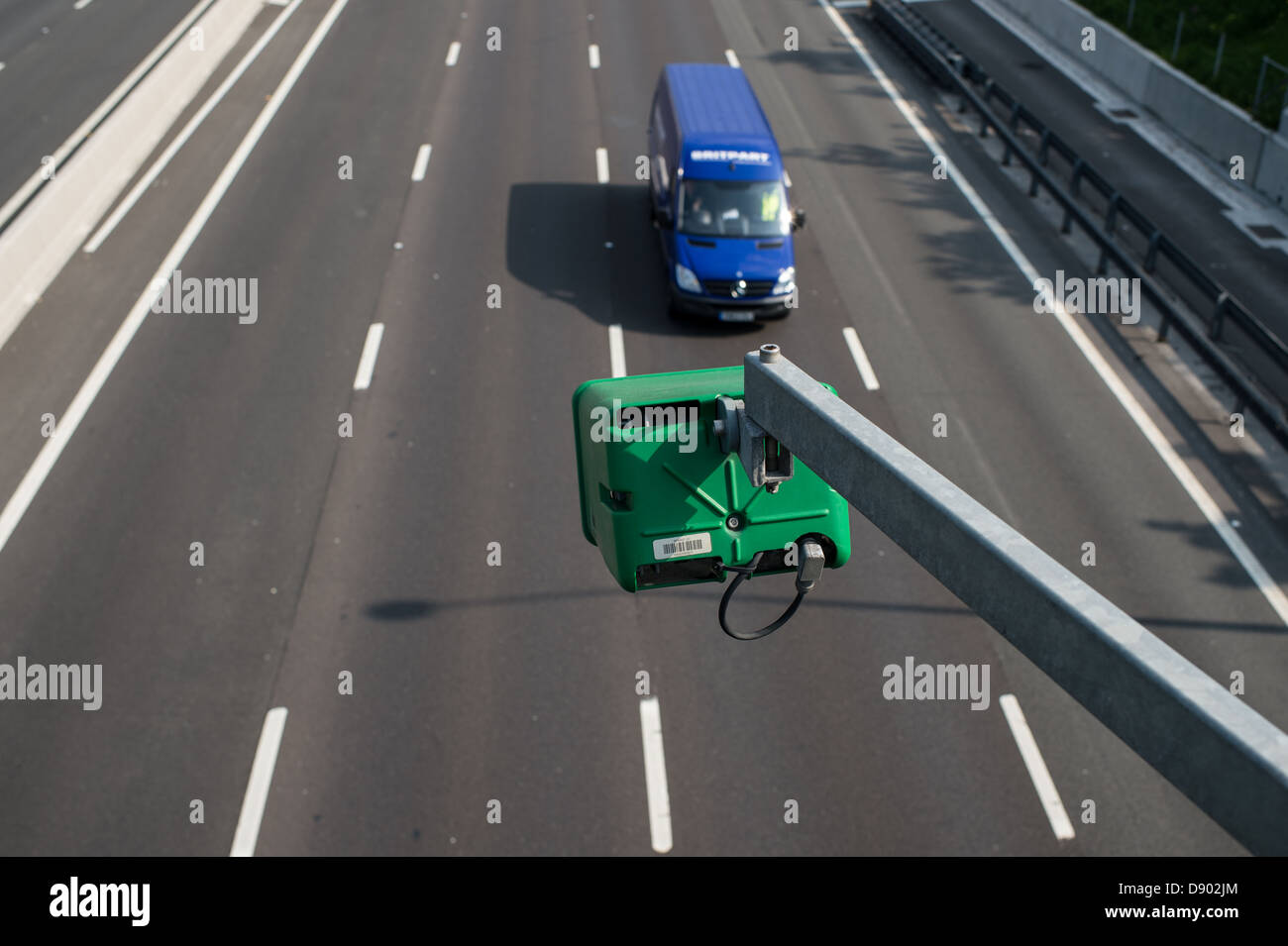 Round the clock monitoring of traffic on the M25 London Orbital Motorway in Essex. - Stock Image