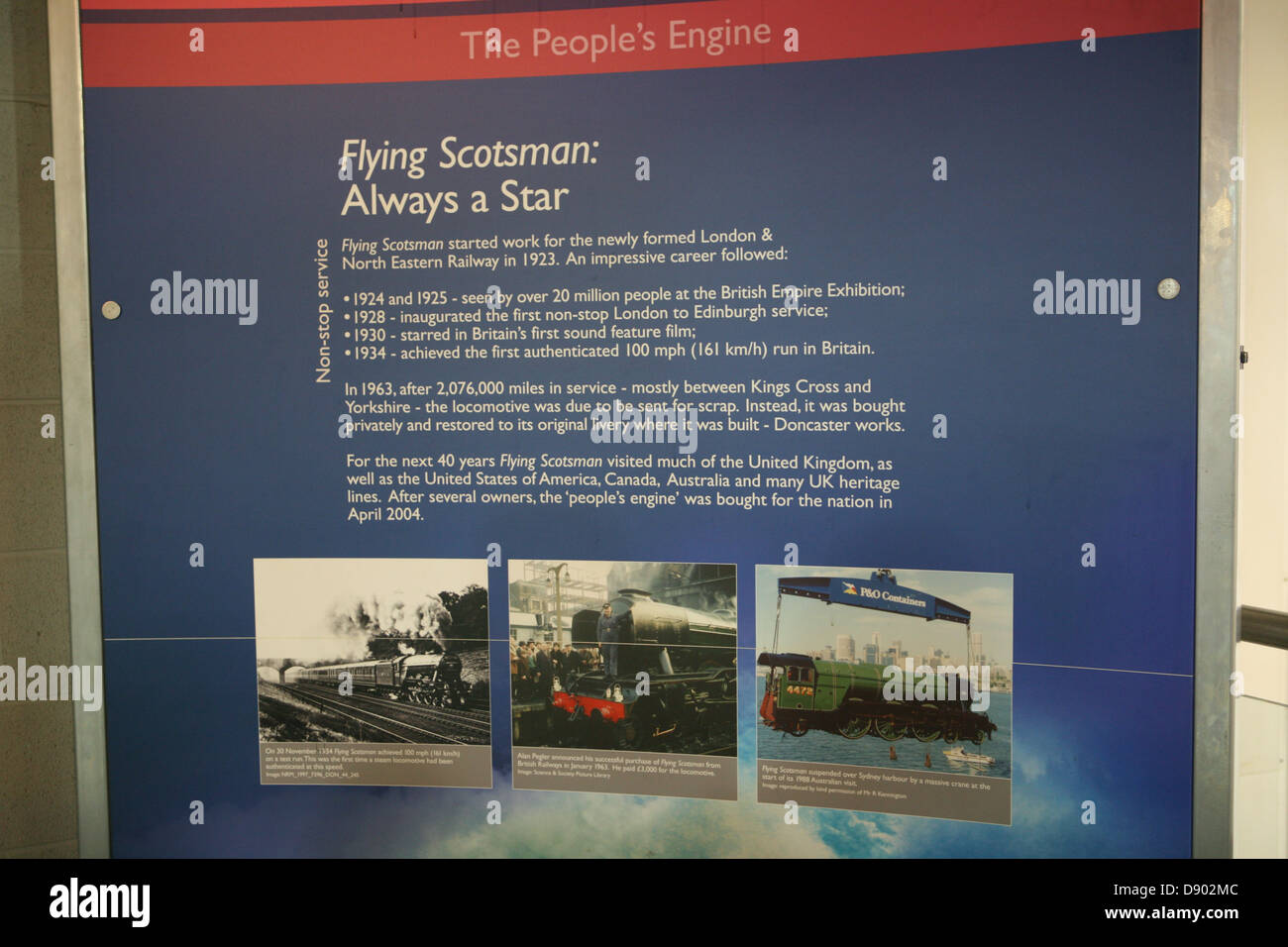 Flying Scotsman history placard in National Rail Museum York - Stock Image