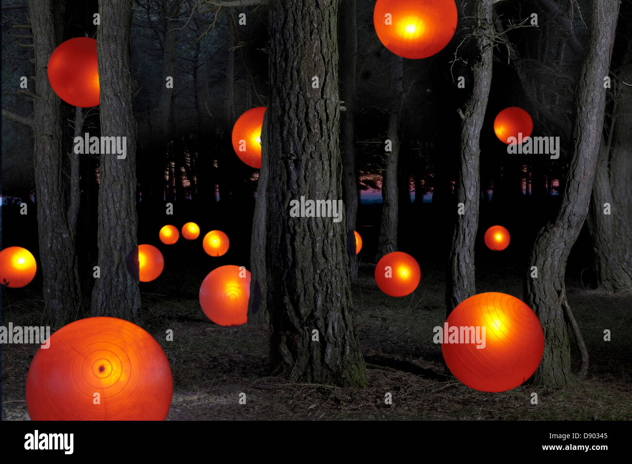 Glowing orange balls by trees in forest, a mystical abstract meaningful concept - Stock Image