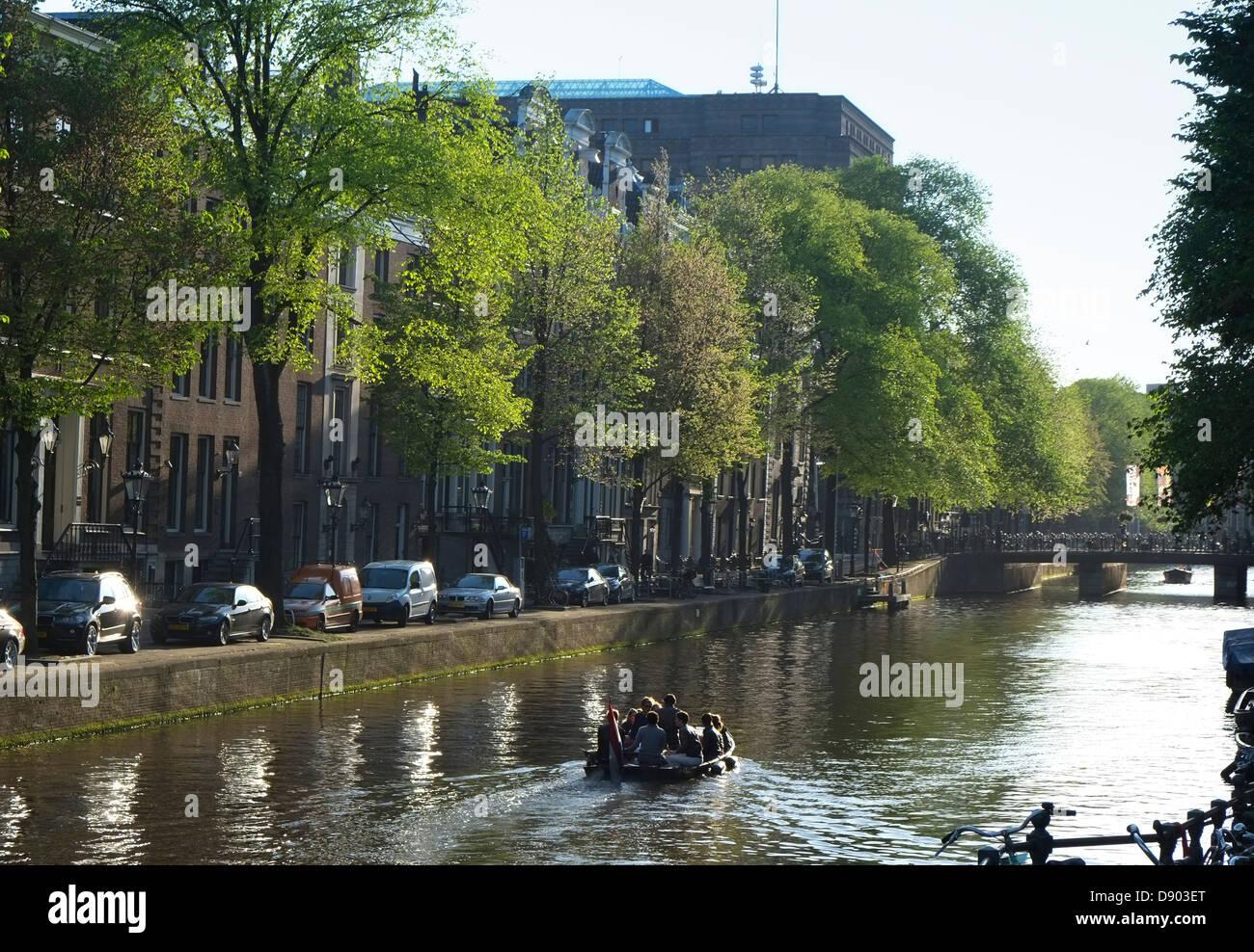 Netherlands, Amsterdam, Prinsengracht in late evening light - Stock Image