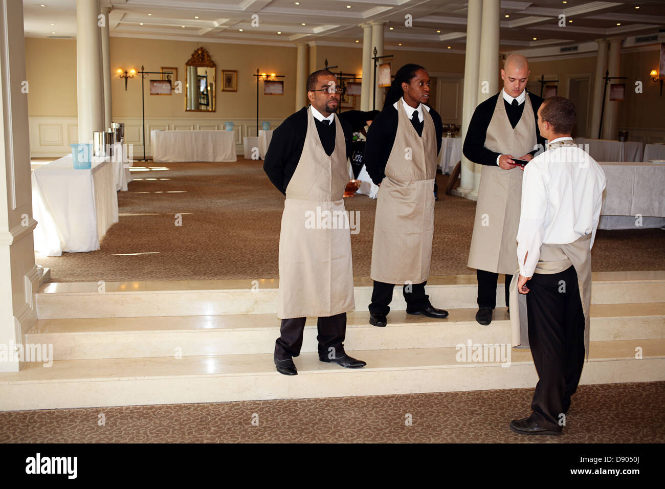 waiters ready for the guests - Stock Image