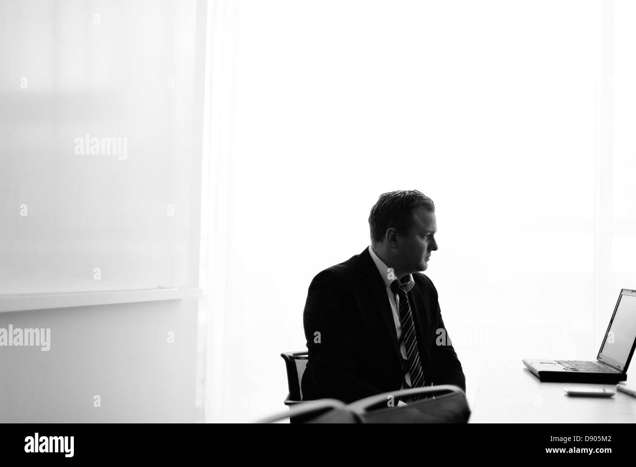 Businessman looking at laptop Stock Photo