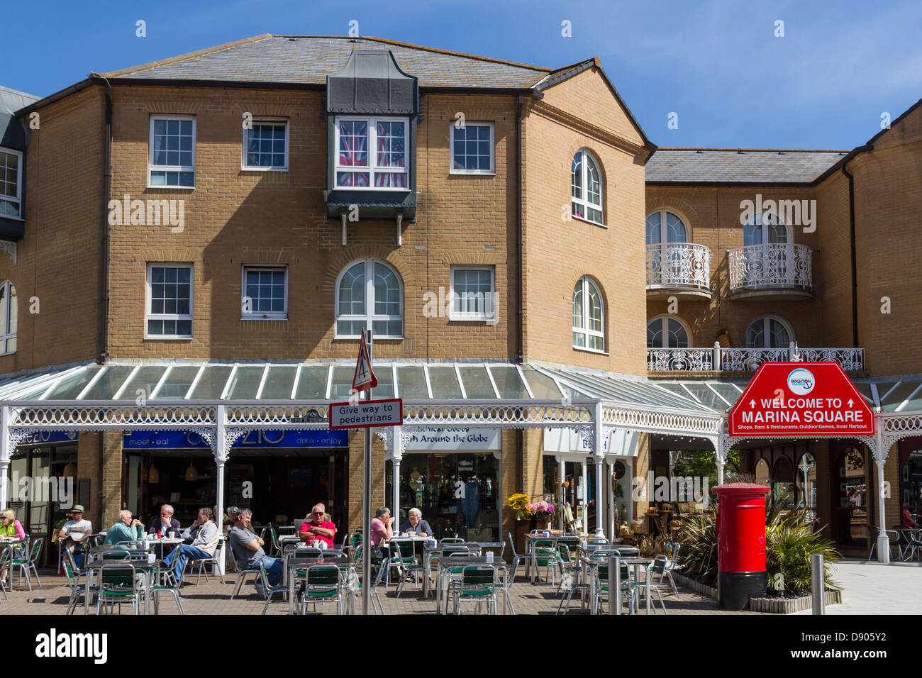 England Sussex Brighton Marina, cafe by Marina square - Stock Image