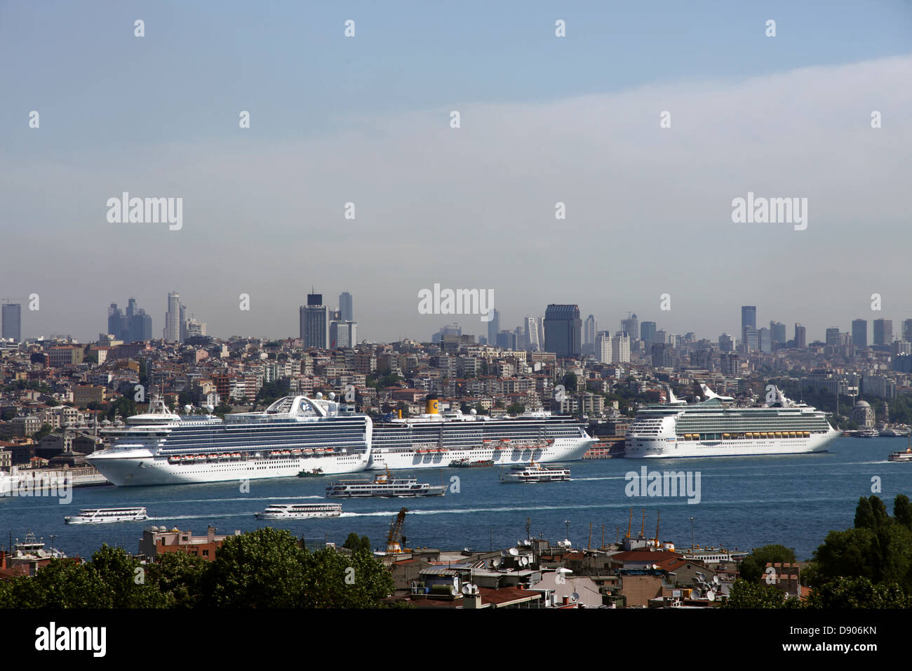 CRUISE LINERS IN PORT ISTANBUL TURKEY 23 May 2012 - Stock Image