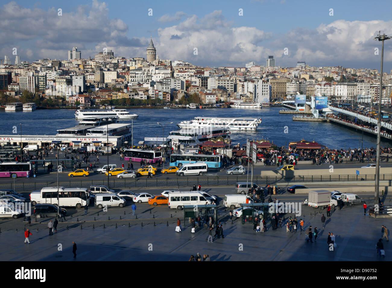 GOLDEN HORN & GALATA TOWER BEYOGLU ISTANBUL TURKEY 11 November 2012 - Stock Image