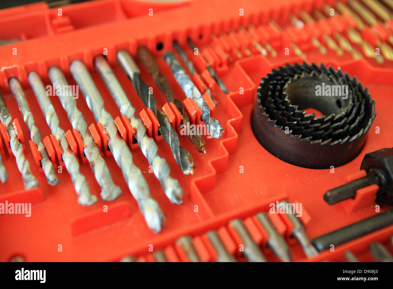 Drill bits inside a tool case - Stock Image