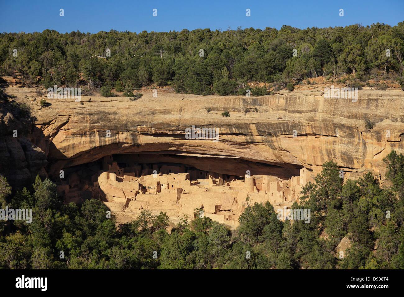USA, Colorado, Mesa Verde National Park (UNESCO Heritage), Spruce Tree House Cliff dwellings - Stock Image