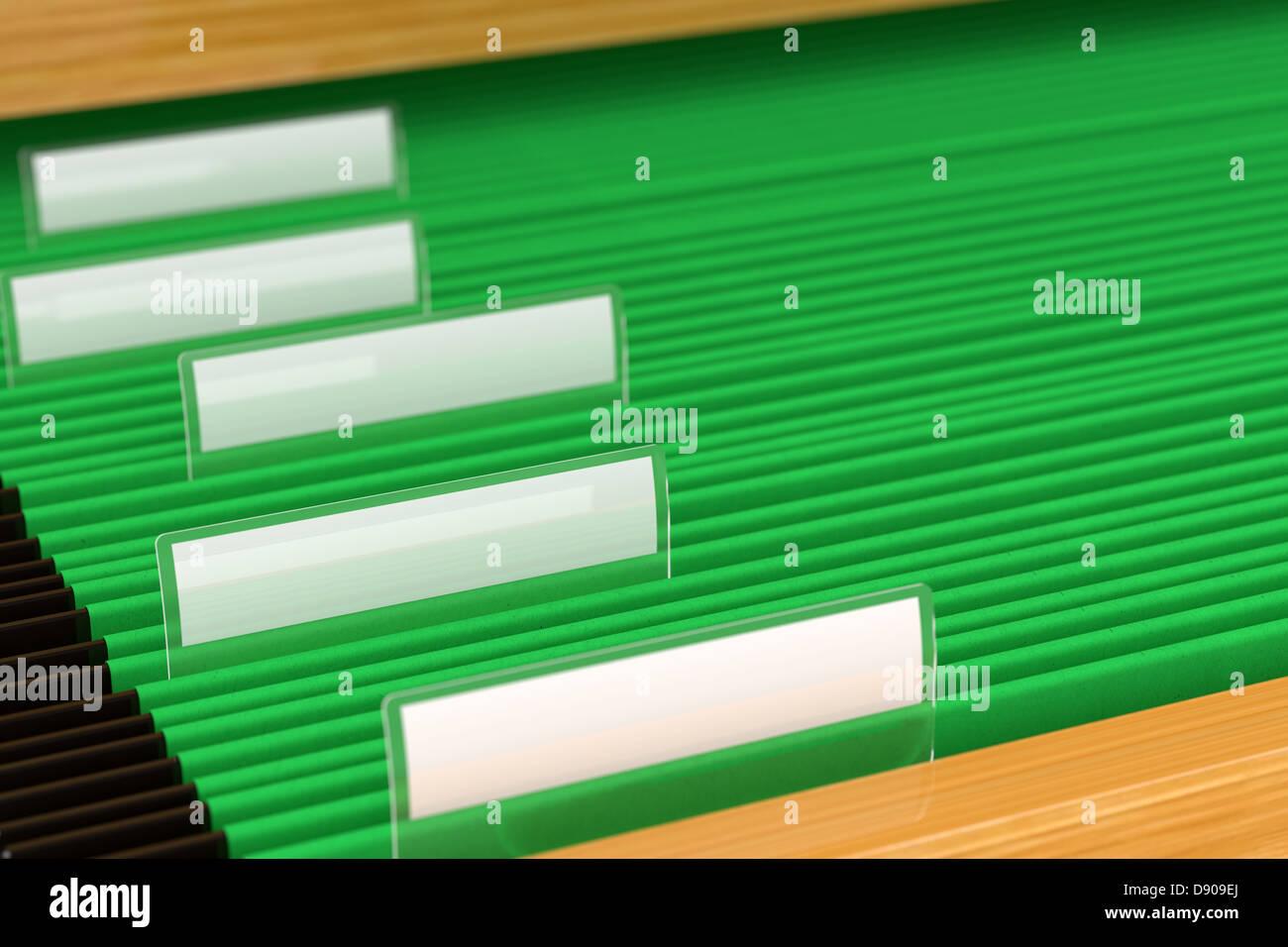 Green File Folders - Stock Image