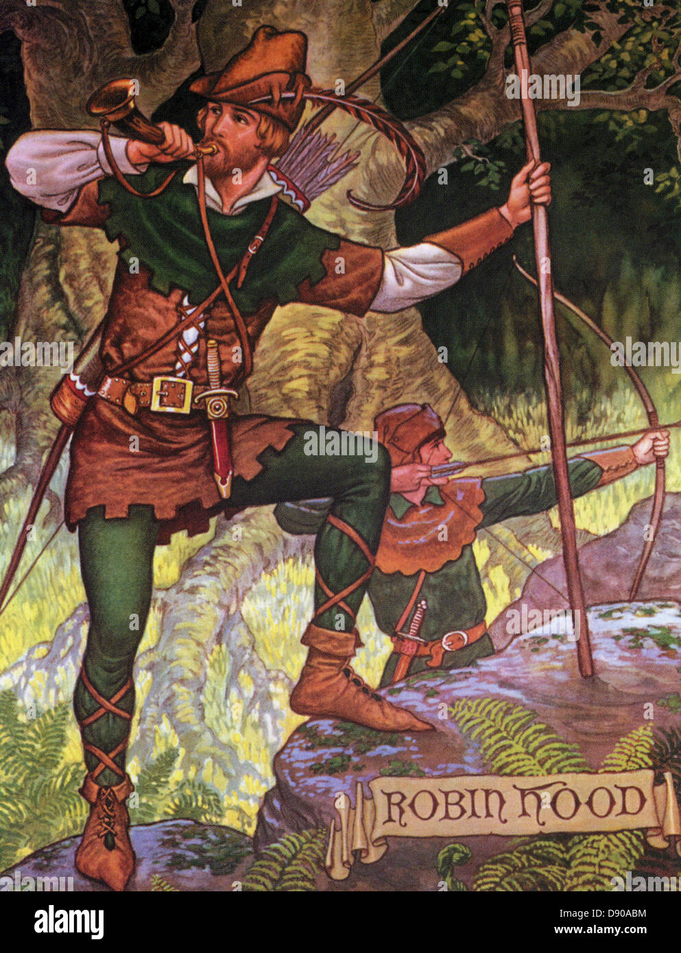 ROBIN HOOD  British folklore hero in a 1930s book - Stock Image