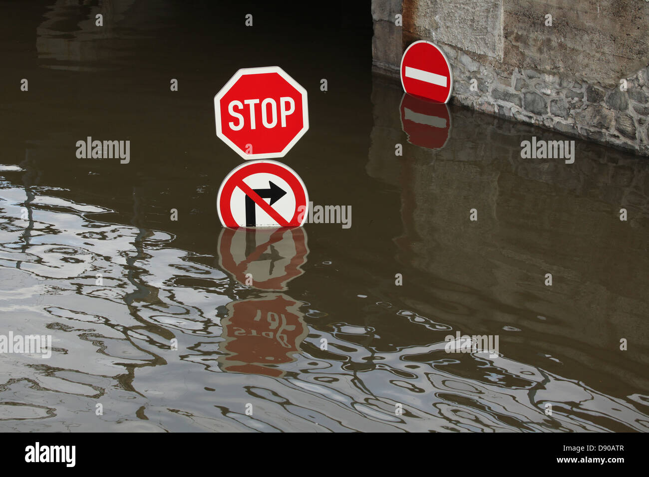 Usti nad Labem in the Czech Republic floods with the Elbe (Labe) River after days of heavy rainfalls on June 5, - Stock Image
