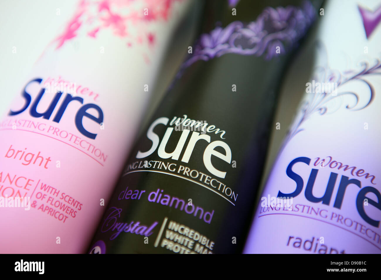 Sure deodorant sprays in various scents - Stock Image