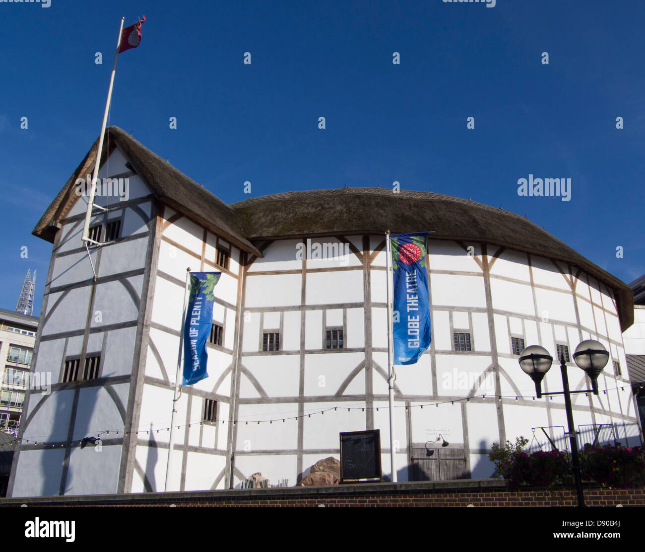 The Globe Theatre, William Shakespeare's theatre, on the south bank of the Thames, London, UK - Stock Image