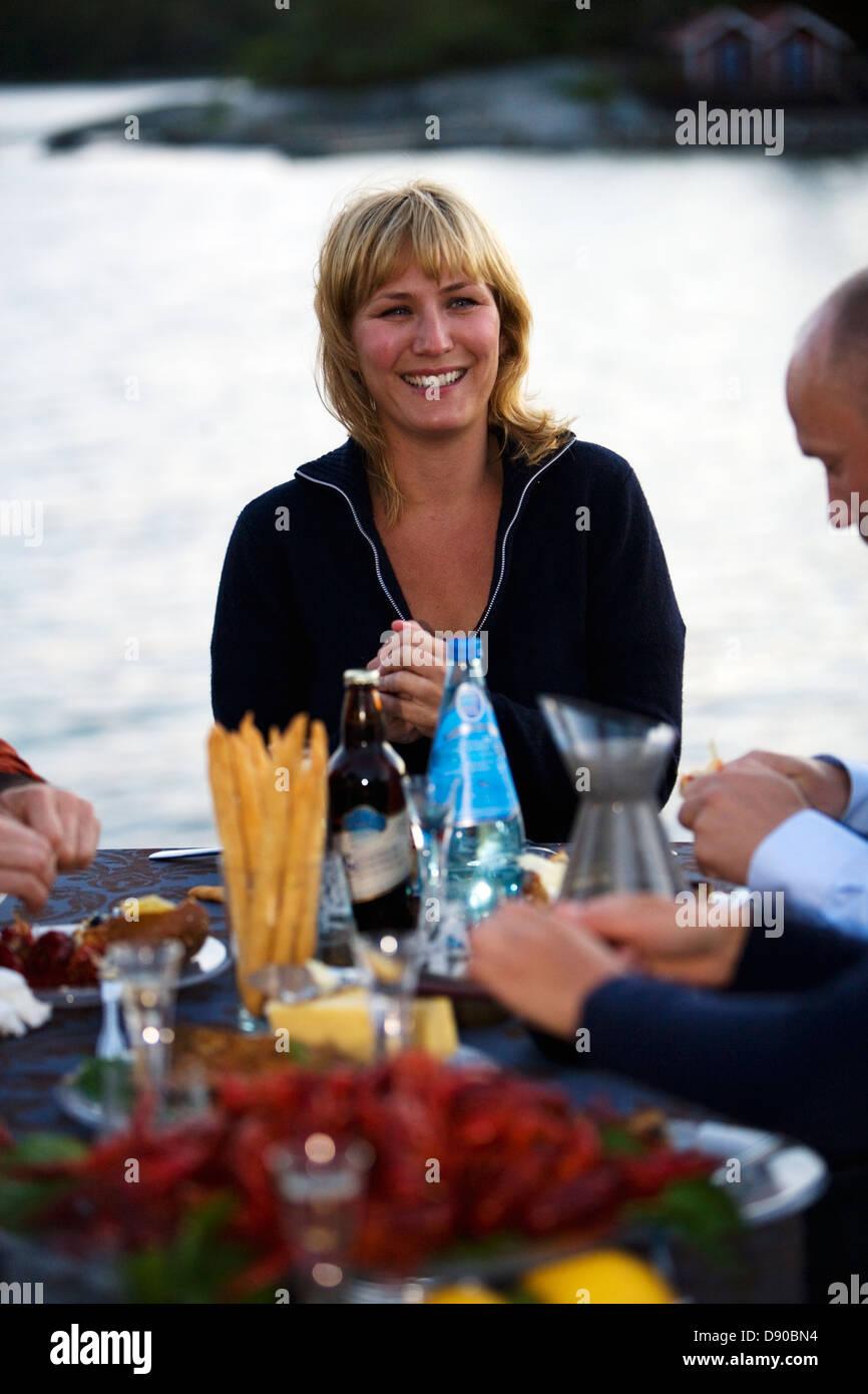 Crayfish party, Fejan, Stockholm archipelago, Sweden. Stock Photo