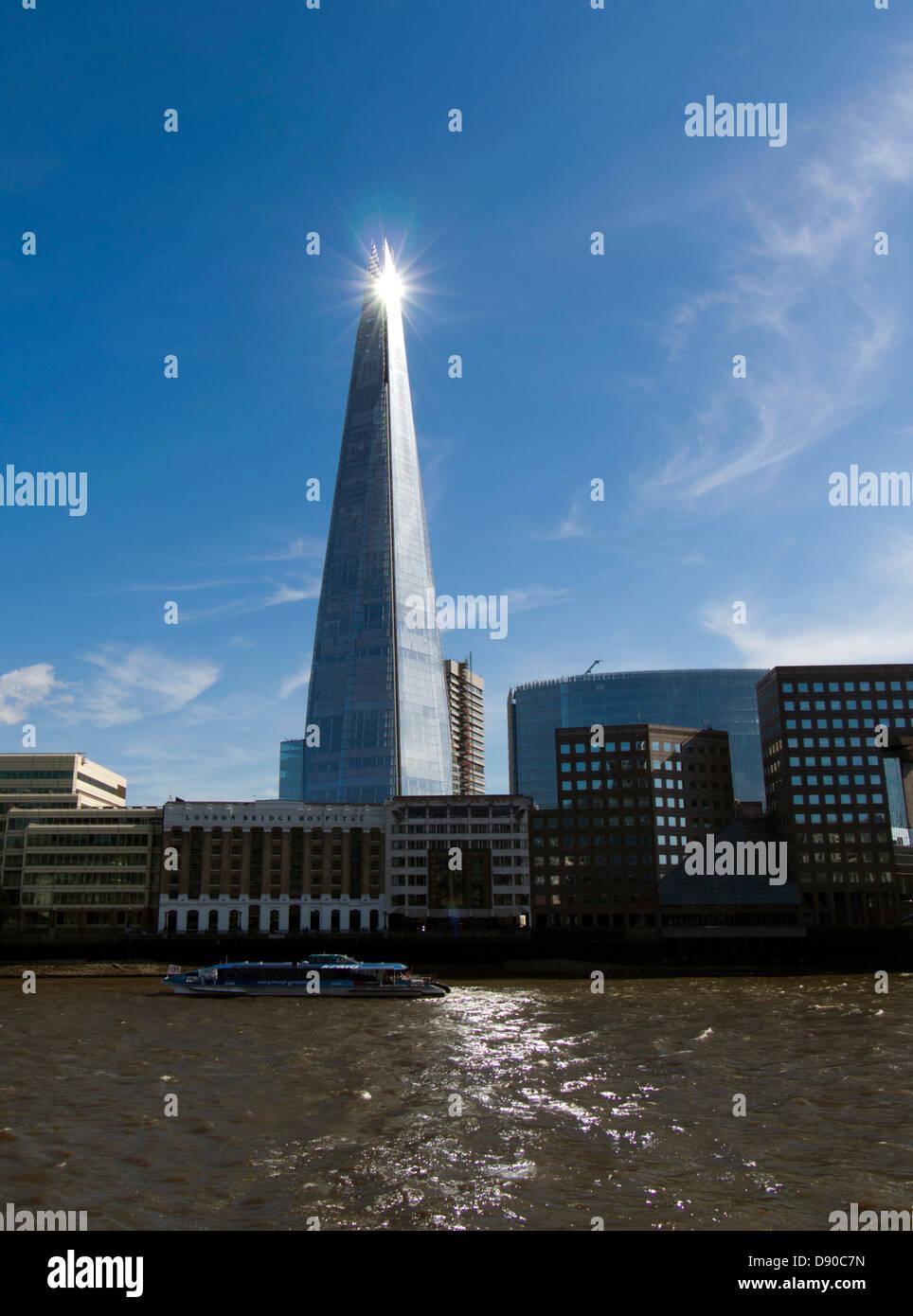 Evening sun sparkles on the Shard, London, UK Stock Photo