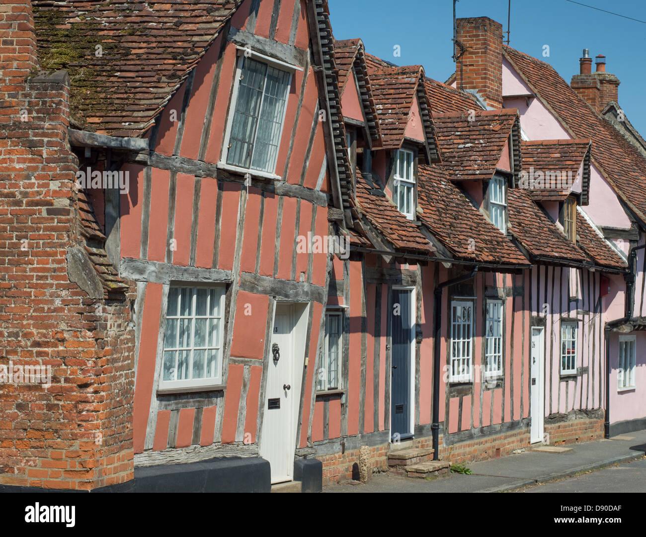 UK England Suffolk Lavenham: timber-framed medieval houses, exterior. - Stock Image