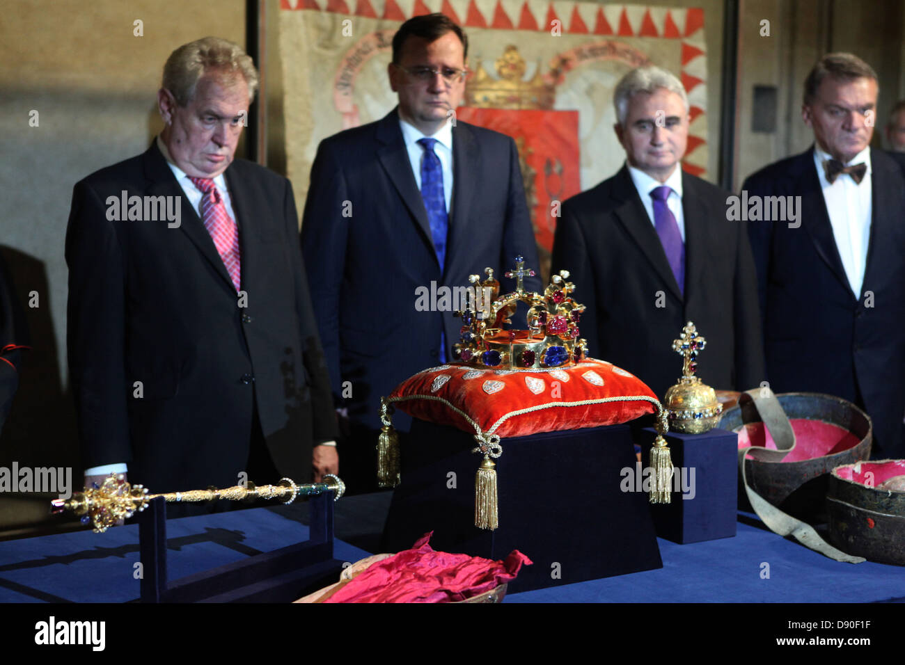 Czech president Milos Zeman (L) attend the display ceremony of the Czech Crown Jewels in the Prague Castle on May Stock Photo