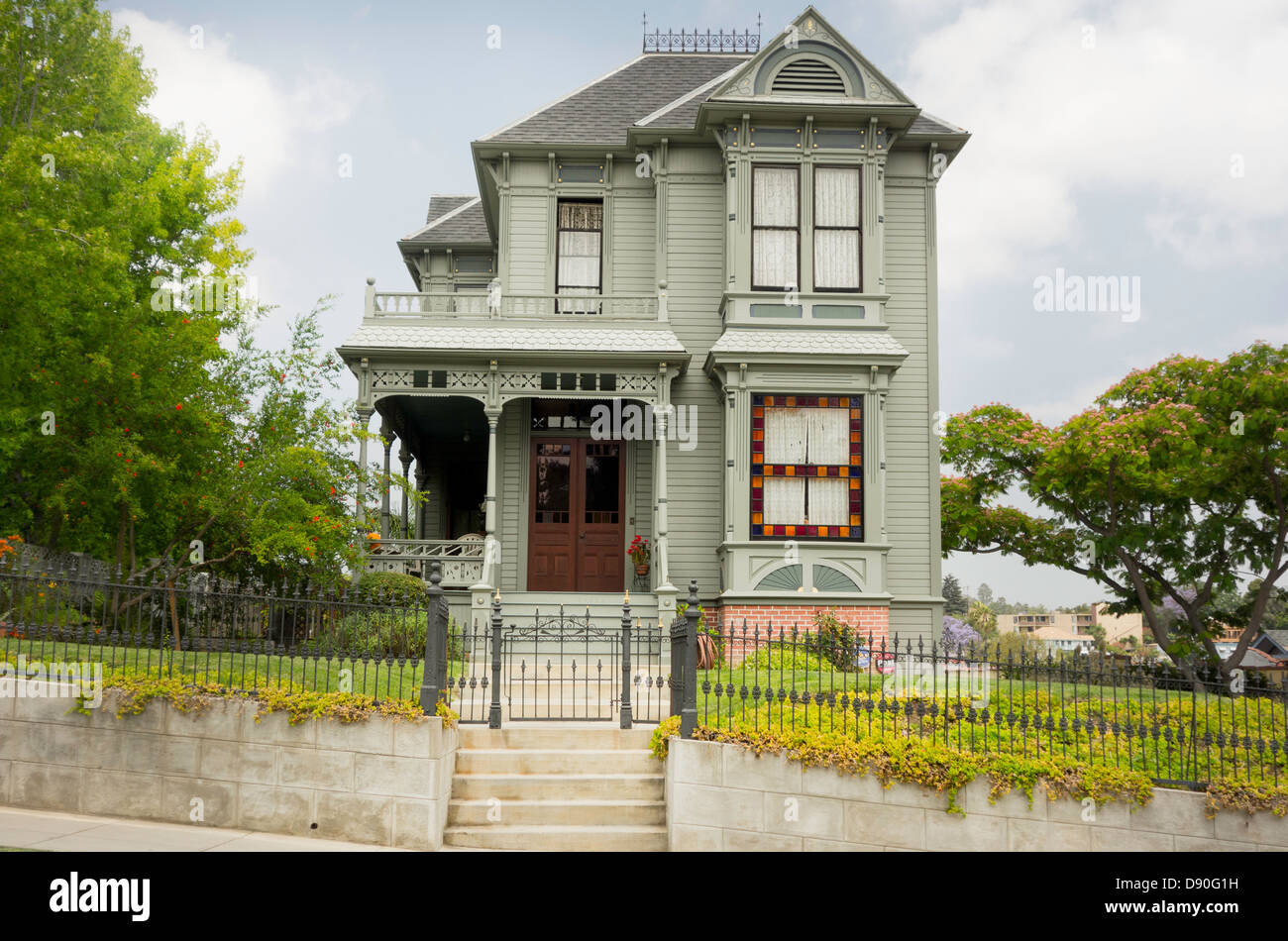 Victorian home in Angeleno Heights district of Los Angeles, the largest concentration of Victorians in Los Angeles, - Stock Image