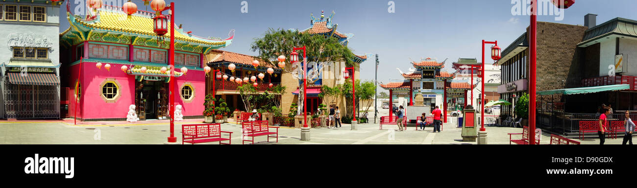 panoramic view of Chinatown plaza in Los Angeles Southern California USA - Stock Image